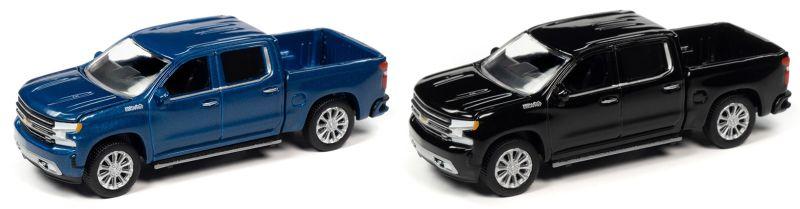 Auto World – 1:64 – 2019 Chevrolet Silverado High Country (Northsky Blue Poly) / AUTO WORLD - 1:64 - 2019 Chevrolet Silverado High Country (Gloss Black)